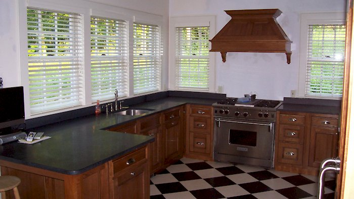 A Natural Cherry Wood-Mode Kitchen.