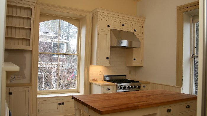 Sturbridge inset kitchen with vintage white finish.
