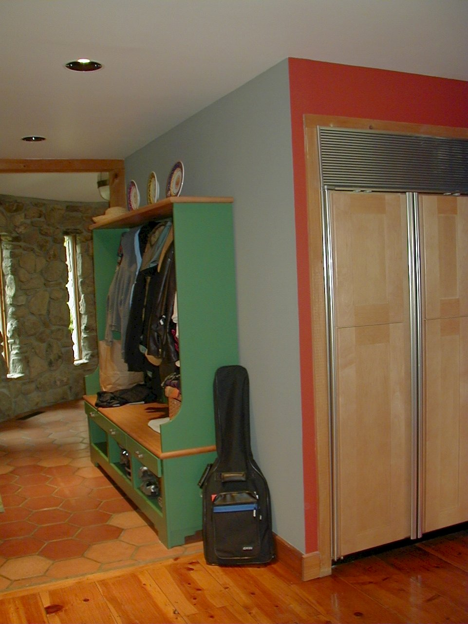 Custom Green paint in the mudroom.