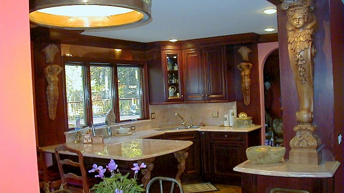 A Burgandy colored Wood-Mode Kitchen