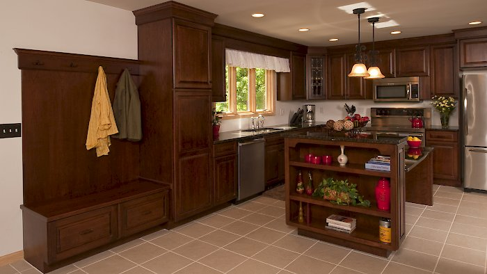 A Medallion Designer Gold kitchen with the Brookhill raised door style.