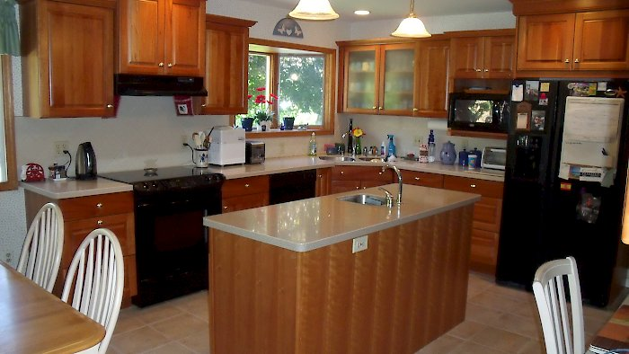 Cherry kitchen with a natural finish.