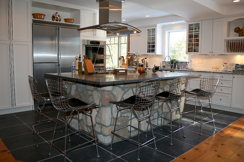 Closer view of the large kitchen island.