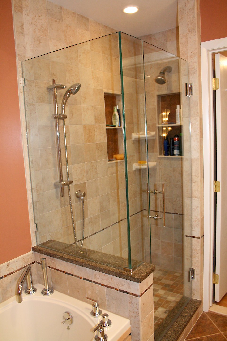 Custom glass frameless shower doors.