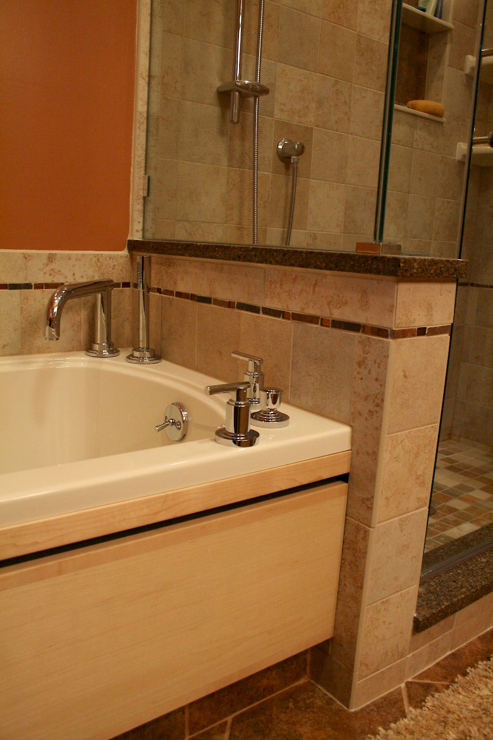 Deck mounted faucets on the tub.