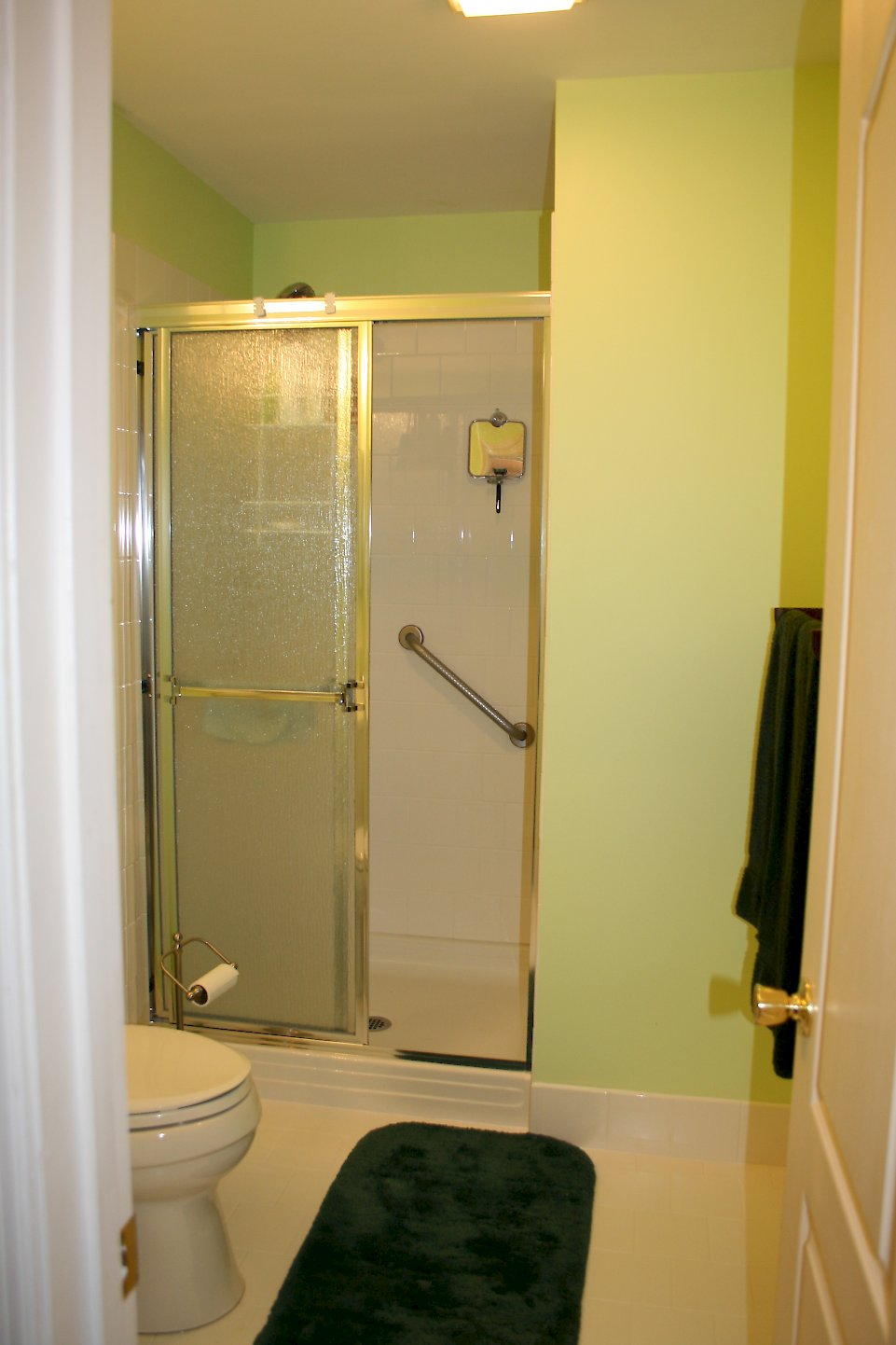 Gold framed shower doors with rain glass.