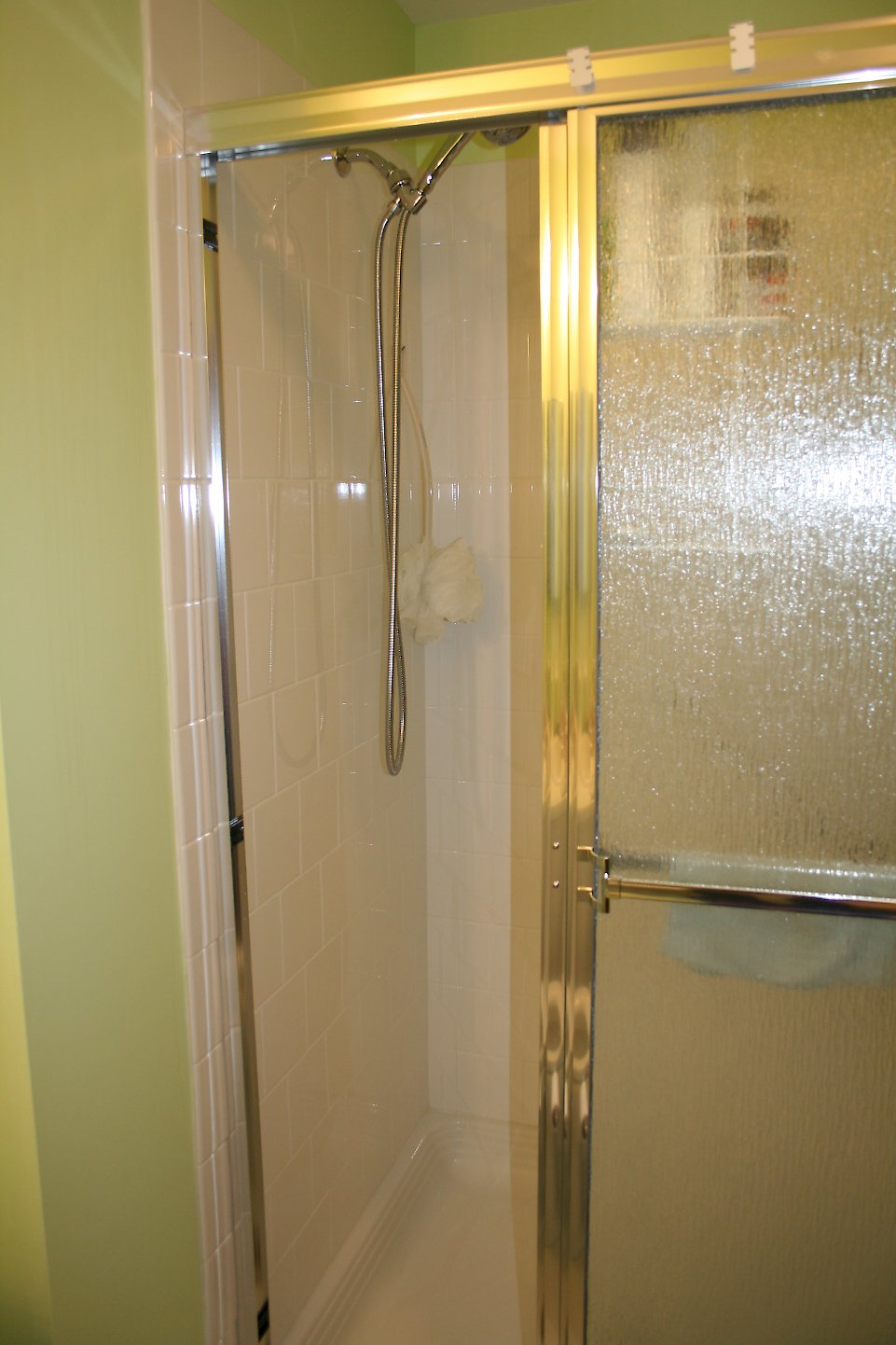 Delta hand shower unit on the main shower wall.